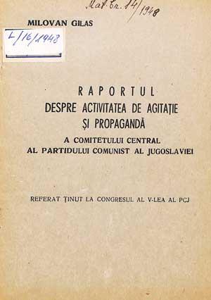 Raportul despre activitatea de agitație și propagandă a PCJ