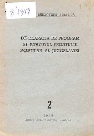 Declarația de program și Statutul Frontului Popular al Jugoslaviei