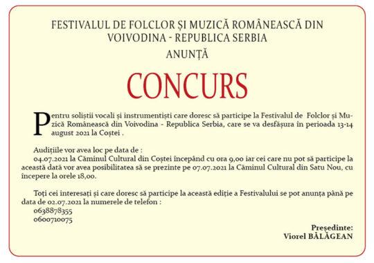 Festivalul de Folclor și Muzică Românească din Voivodina – Republica Serbia anunţă concurs