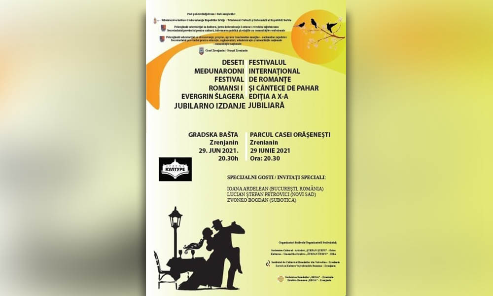 Ediţia a X-a jubiliară a Festivalului Internațional de Romanţe, pe 29 iunie, la Zrenianin