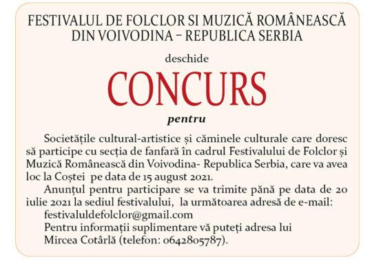 CONCURS-Festivalul de folclor si muzică românească din Voivodina – Republica Serbia